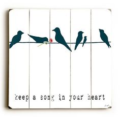 Artehouse LLC Keep a Song Graphic Art Print Multi-Piece Image on Wood Bird Silhouette, Wooden Art, Wall Plaques, Your Heart, Decoration, Graphic Art, To My Daughter, Wall Decor, Wall Art