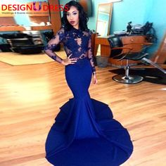 Find More Evening Dresses Information about African Long Mermaid Prom Dresses 2017 Royal Blue Court Train Appliques Lace Top Long Sleeve Evening Party Gowns For Women,High Quality gown house,China gown couture Suppliers, Cheap dress clothes for infants from Rainbow Wedding Store on Aliexpress.com