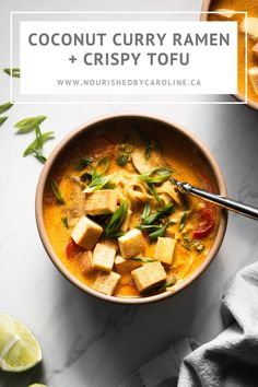 A simple coconut curry ramen topped with crispy tofu. Basically the best vegan noodle soup. Ramen Recipes, Veggie Recipes, Lunch Recipes, Asian Recipes, Whole Food Recipes, Vegetarian Recipes, Cooking Recipes, Healthy Recipes, Curry Ramen