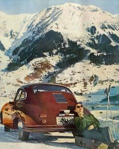 Best classic cars and more! Vintage Ski, Vintage Travel Posters, Vintage Cars, Vintage Winter, Porsche Cars, Porsche 356, Vintage Porsche, Best Classic Cars, Unique Cars
