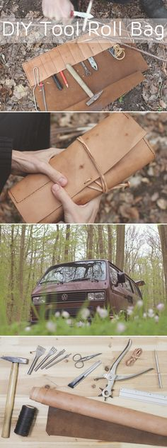 """Time to fix it! With a tool roll bag you have the most important tools at hand wherever you are. Check out the Pinterest board """"DIY Bloggers for Volkswagen"""" for the full instructions and more inspiring DIYs from different bloggers. https://de.pinterest.com/volkswagen/diy-bloggers-for-volkswagen/"""