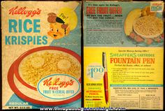 Kellogg's Cereal Boxes back in the 1880's   1963 Kellogg's Rice Krispies Cereal Box
