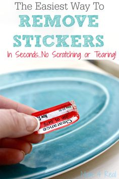 The easiest way to remove stickers or labels in seconds without scratching or tearing. One ingredient is all you need! via @Mom4Real