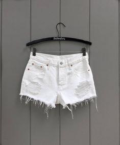 f9d5c20e7ed Levis High Waisted White Denim Shorts Sizes 00 - 10 - High Waisted White  Denim Shorts