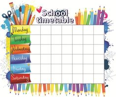 Elementary School Timetable Template and Software - Employee Template and Software Class Schedule Template, Timetable Template, After School Schedule, Middle School, Back To School, Class Timetable, Birthday Charts, School Labels, School Routines
