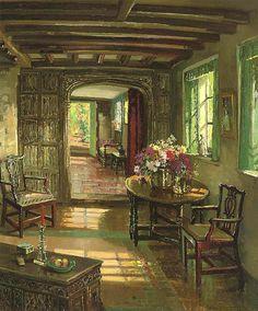 dappledwithshadow:  A Sunlit Interior, Herbert Davis Richter (1875-1955)