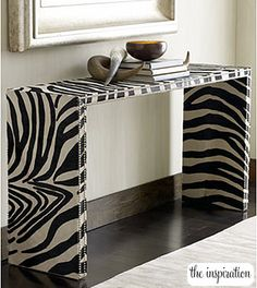 One of my best girl friends is a big zebra lover. When I say big, what I really mean is HUGE - huge as in almost every room in her house is decorated with zebra Painted Furniture, Diy Furniture, Furniture Design, Papel Contact, Contact Paper, Zebra Decor, Exotic Homes, Creation Deco, Interior Decorating