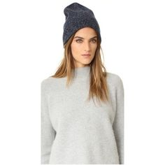 Rag & Bone Francesca Cashmere Beanie (£135) ❤ liked on Polyvore featuring accessories, hats, navy, beanie cap, navy blue beanie hat, cashmere beanie, beanie cap hat and lined beanie hat