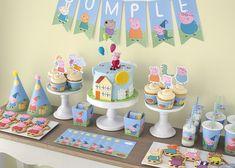 Peppa Pig Y George, George Pig Party, Fiestas Peppa Pig, Cumple Peppa Pig, 3rd Birthday Parties, Birthday Party Decorations, Birthday Ideas, Peppa Big, Peppa Pig Teddy
