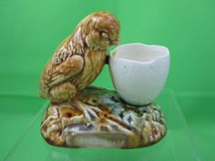 Antique French Majolica Just Out Chick & Egg Cup