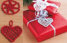 Crochet Christmas Decorations - Home DK Crochet Christmas Decorations, Holiday Crochet, Christmas Ornament Crafts, Christmas Knitting, Crochet Home, Christmas Crafts For Kids, Christmas Diy, Xmas, Christmas Hearts