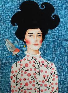 Pinzellades al món: Dones il·lustrades per Hülya Özdemir / Mujeres ilustradas / Women illustrated by Hülya Özdemir Art Pop, Painting Inspiration, Art Inspo, Art Amour, L'art Du Portrait, Portraits, Frida Art, Art Et Illustration, Art Design