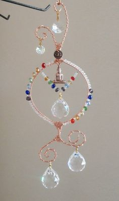 Crystal Chakra Suncatcher with Buddha Om by LifeForceEnergy