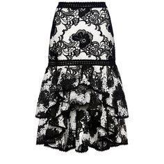 Alexis  - Halima Floral Lace Ruffle Hi-low Flared Skirt ($627) ❤ liked on Polyvore featuring skirts, high waisted knee length skirt, lace skirts, hi low skirt, flared skirts and high-waisted flared skirts