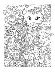 Creative Catsfeatures over 30 drawings of fancy felines.Cat lovers and  colorists are enchanted with these detailed designs where each cat is  arrayed in a field of flowers, paisleys, stars, and more in an imaginative,  themed setting.