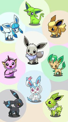 Shiny Eevee and Eeveelutions. (Glaceon, Espeon, Flareon, Eevee, Vaporeon, Leafeon, Umbreon, Sylveon, and Jolteon.) #Pokemon #Eeveelutions