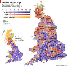 How to depict Britain's extraordinary North-South political divide http://www.economist.com/blogs/graphicdetail/2013/04/mapping-britain?fsrc=scn/tw_ec/size_matters&utm_content=bufferb31d7&utm_medium=social&utm_source=pinterest.com&utm_campaign=buffer