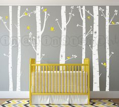 Birch Tree Decal with Flying Birds, Birch forest, Birch Trees Wall Vinyl for Nursery, Living Room, Kids or Childrens Room 009