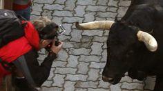 Un joven fotografía a uno de los toros de la ganadería de Jandilla en la entrada al coso pamplonica, durante el quinto encierro de los sanfermines 2014, que ha resultado muy limpio sin heridos por asta, a pesar de que un sexto toro se ha quedado rezagado y ha entrado en la plaza por detrás de la manada. EFE/Javier Lizón