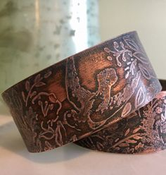 A personal favorite from my Etsy shop https://www.etsy.com/listing/493310322/pretty-bird-etched-cuff-ooak