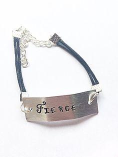 Hand Stamped Fierce Bracelet  Fierce Bracelet  Black by EmmaFleet