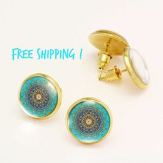 Turquoise Studs, Summer Beach Jewelry Oriental Mandala Earrings. Summer Studs. Nickel Free Gold  Earring, Stud Earrings KSZ04R13K01B