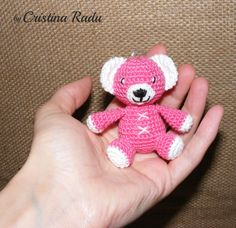 Crochet tiny bear, amigurumi bear, little pink teddy bear, bear keychain, crocheted mini bear, little teddy bear gift, baby bear, gift ideea - pinned by pin4etsy.com