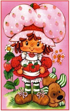 Strawberry Shortcake is timeless. My first birthday party and the first birthday parties for both of my daughters were Strawberry Shortcake themed parties. Strawberry Shortcake Cartoon, Vintage Strawberry Shortcake Dolls, Vintage Cartoon, Vintage Toys, Vintage Art, Cartoon Photo, 80s Kids, Ol Days, My Childhood Memories