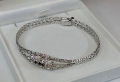Vintage Armschmuck - 50er Jahre Armband Silber 835 und 3 Saphire SA303 - ein Designerstück von Atelier-Regina bei DaWanda