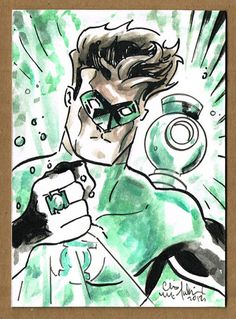 Green Lantern Sketch Card ACEO Chris Mcjunkin PSC Justice League 1 1 DC Comics | eBay