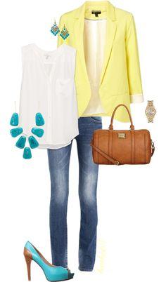 ¿Qué me pongo con un blazer amarillo pastel? Combínalo con una prenda de color blanco y resáltalo con accesorios color turquesa. aspeqtto.com
