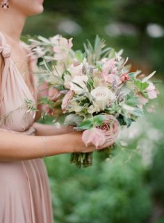 romantic mauve and ivory bouquet featuring roses, clematis, pink jasmine, lavender and olive branches by Ambient Event Design