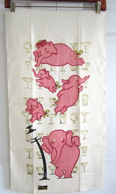 Vintage Cocktail Towel Pink Elephant Hangover Kay Dee Prints at NeatoKeen