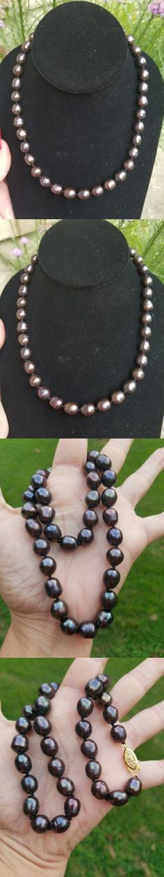 Pearl 164327: Natural 9-10Mm Black Tahitian Pearl Necklace, Gold Flashed Clasp, 18 -> BUY IT NOW ONLY: $30 on eBay!