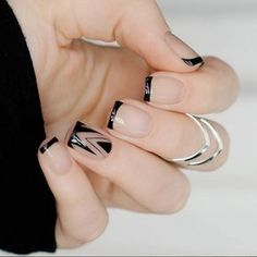 35 Splendid French Manicure Designs: Classic Nail Art Jazzed Up - Nails - Cute Nails, Pretty Nails, Hair And Nails, My Nails, Long Nails, Fall Nails, Short Nails, Glitter Nails, Line Nail Designs