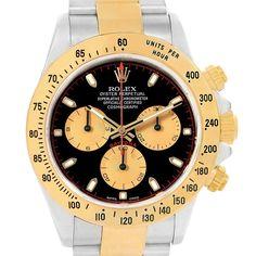 17719 Rolex Daytona Steel Yellow Gold Black Dial Mens Watch 116523 Box Papers SwissWatchExpo