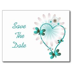 Save The Date Postcard Mint Heart And Butterflies