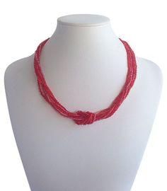 Love Knot Red | Indigo Heart - Fair Trade Fashion  A$19.50 Crochet Necklace, Beaded Necklace, Fair Trade Fashion, Knots, Indigo, Artisan, Jewelry Making, Heart, Red