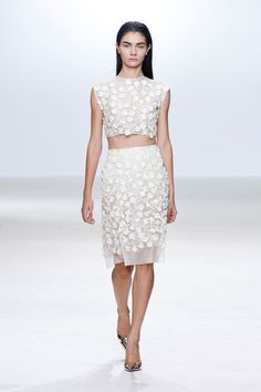 Giambattista Valli S/S 13. Matching cropped top and pencil skirt with ultra feminine floral motifs.