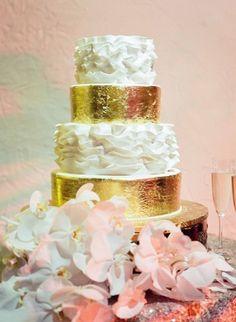 Ruffle %26 Gold Leaf Wedding Cake    Photography: Jose Villa Photography   Read More:  http://www.insideweddings.com/weddings/elegant-destination-wedding-with-beach-ceremony-gilded-reception/775/