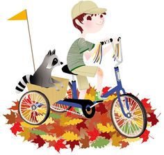 Anna Lubinski - Illustration - Cartoon portrait - Character design - A boy on a blue tricycle with a raccoon in a basket at the back. It's autumn outside, there are multicolored leaves covering the ground.
