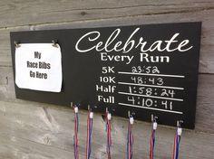 Race bib running medal holder and display running gift Celebrate every Run chalkboard paint  PR