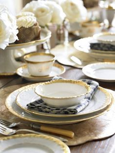 gold rimmed white Limoge china