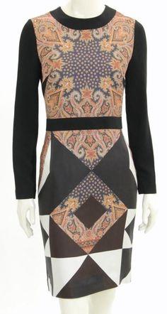 Givenchy Dress (Pre-owned Orange Navy & Black Paisley Print Silk Long Sleeve Sheath Designer Dress)