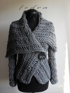 Grey  wrap  sweater by FedRa ($200)