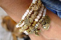 Gilda - 5 strand stretch Crystal Stretch Bracelet with love, lock, bird charms - Sand, Cream
