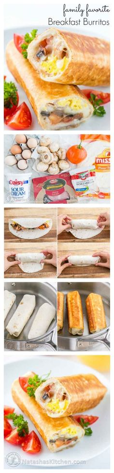 Crispy Breakfast Burritos with Mushrooms, Mozzarella & Hot Sauce