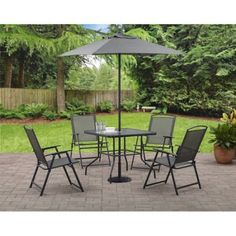 The Albany Lane Six-Piece Folding Dining set is ideal for small gatherings on smaller decks and patios. It includes a dining table four sling folding chairs and a market umbrella. The dining table f. Outdoor Folding Chairs, Outdoor Dining Set, Patio Dining, Outdoor Living, Outdoor Decor, Dining Table, Patio Tables, Patio Sets, Outdoor Cafe