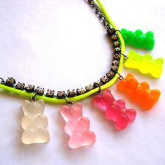 Neon Gummy Bears Charm Necklace by FatallyFeminine on Etsy, $35.00