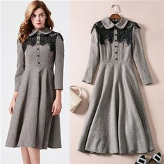 autumn winter vintage patchwork lace peter pan collar long sleeve dresses three-quarter mid calf grey woolen dresses with packet